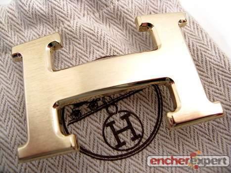 fc921dd2ba25 Boucle de ceinture HERMES en metal dore brosse - Authenticité ...