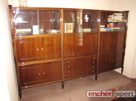 living bibliotheque vitrine empire louis xvi buffet haut bahut bar acajou vernis. Black Bedroom Furniture Sets. Home Design Ideas