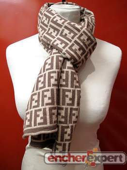 Echarpe fendi foulard 100 laine beige marron - Authenticité garantie -  Visible en boutique 75157286eee