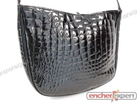 29da03a5c1 Vintage sac a main pourchet en cuir croco noir - Authenticité ...