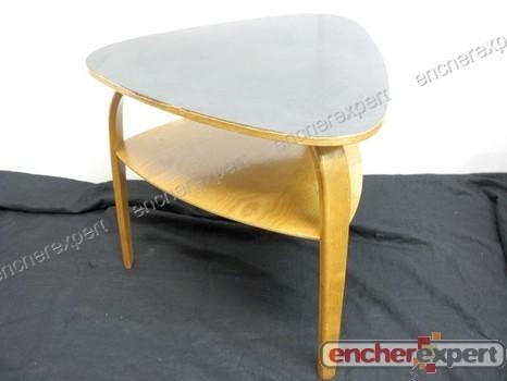 vintage table basse hugues steiner bow wood circa. Black Bedroom Furniture Sets. Home Design Ideas