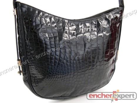 7a5e2ab304 Vintage sac a main pourchet cabas 30 cm cuir croco - Authenticité garantie  - Visible en boutique