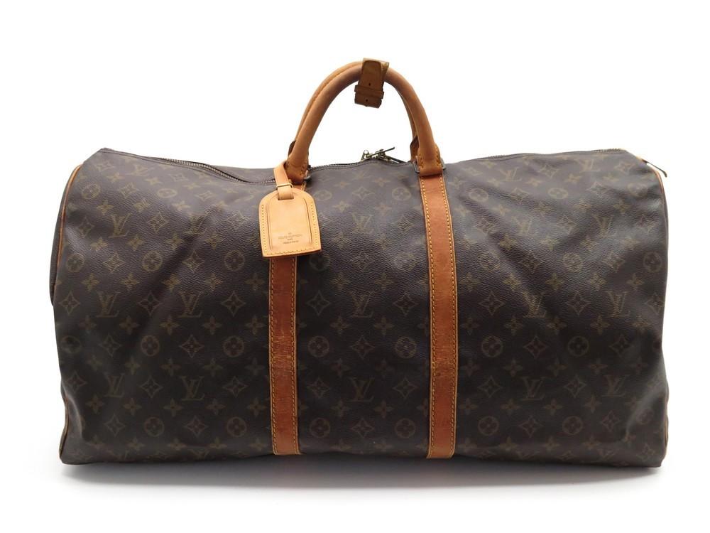 0386aebac806 Sac voyage a main LOUIS VUITTON keepall 60 toile - Authenticité garantie -  Visible en boutique