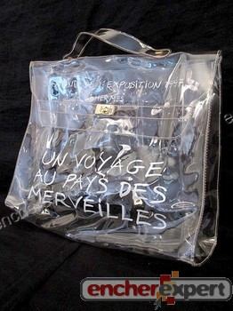 Sac a main HERMES kelly 40 cm transparent souvenir - Authenticit¨¦ ...