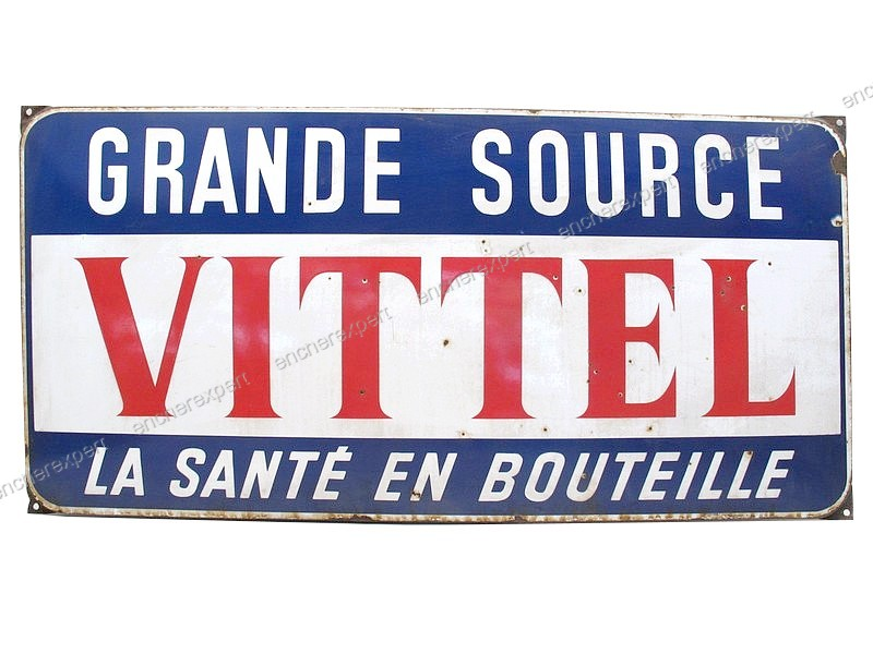 ancienne plaque publicitaire emaillee vittel authenticit garantie visible en boutique. Black Bedroom Furniture Sets. Home Design Ideas