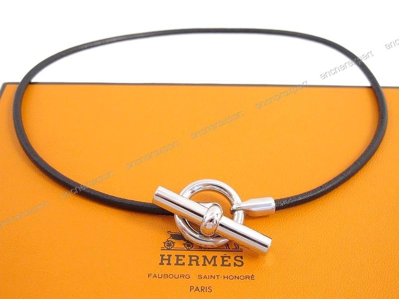 Neuf collier HERMES glenan acier palladie cuir - Authenticité ... d389f2dab8b