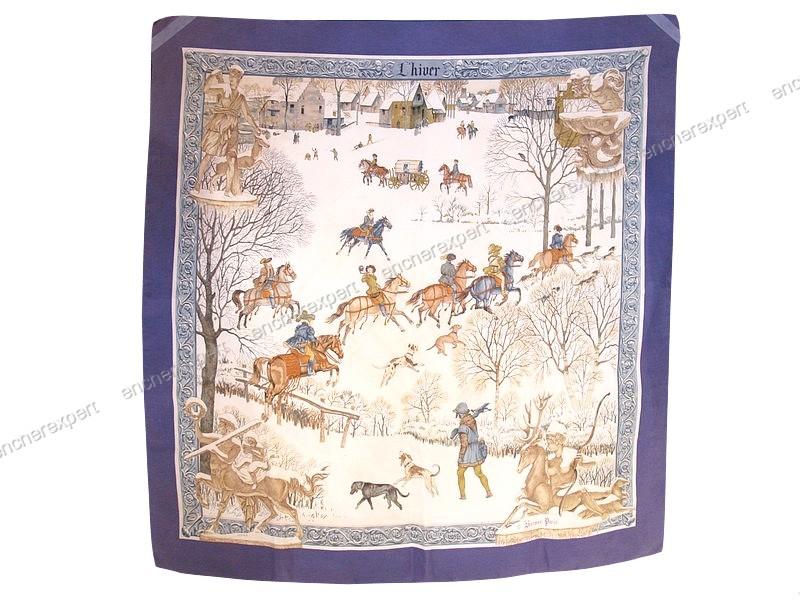 Foulard HERMES l hiver philippe ledoux carre soie - Authenticité ... 29c4cc11dea