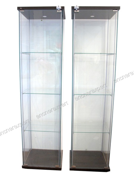 lot de 2 vitrines ikea detolf 163x43x37 cm cle 3 authenticit garantie visible en boutique. Black Bedroom Furniture Sets. Home Design Ideas