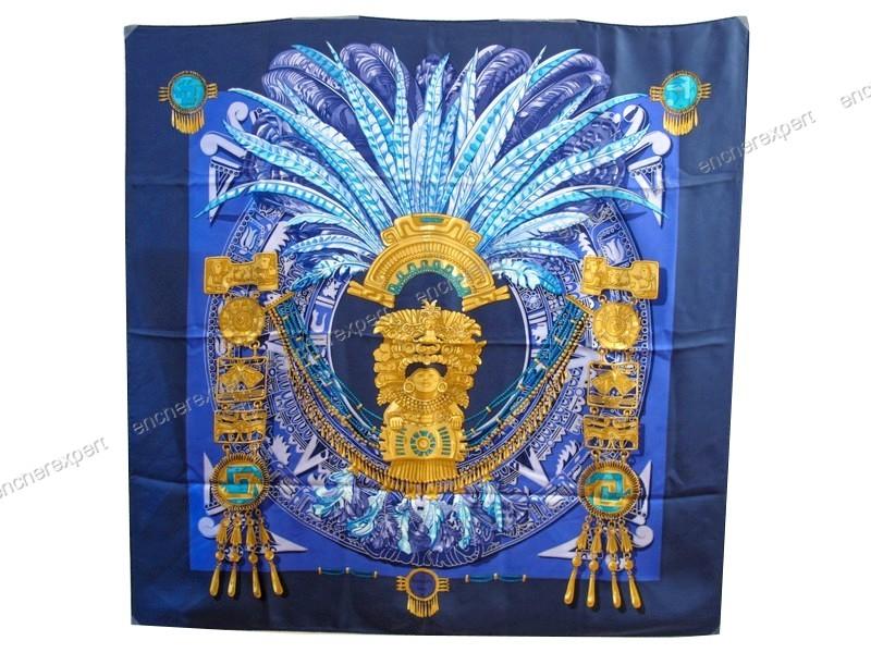 f5178e10c546 Rare neuf foulard HERMES mexique azteques latham - Authenticité garantie -  Visible en boutique