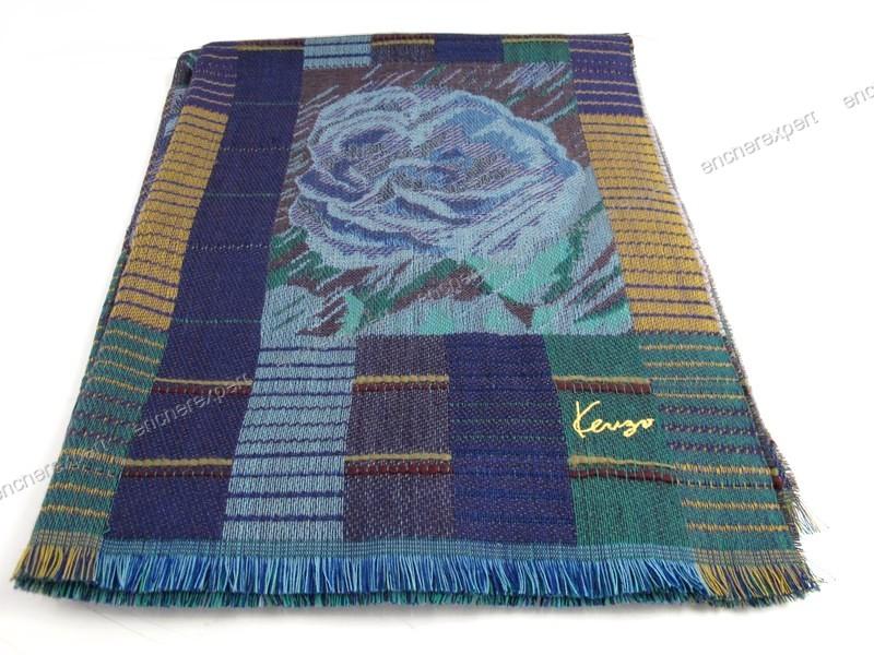 4fd567591eb Neuf etole echarpe kenzo foulard 100 laine bleu - Authenticité garantie -  Visible en boutique