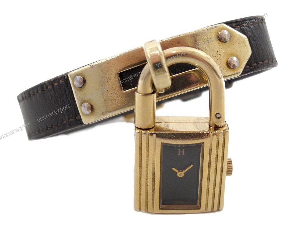 Rare vintage montre bracelet HERMES kelly cadenas - Authenticité garantie -  Visible en boutique 8e74c3dee2f