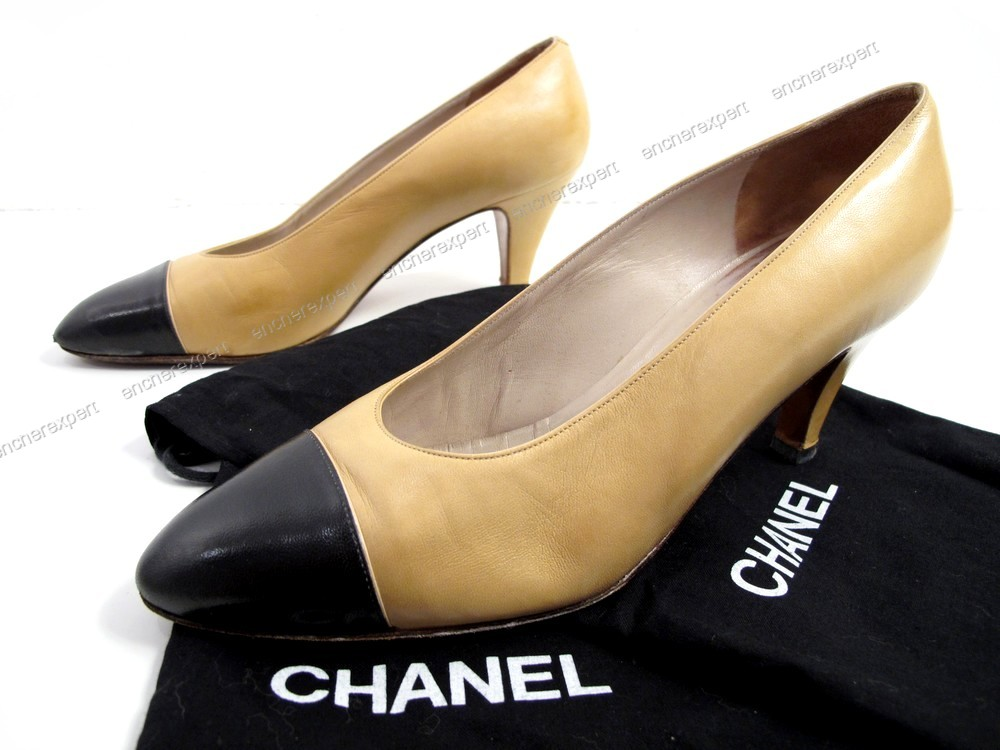 Chaussures Chanel Escarpins 39 Cuir Bicolore Noir Authenticite