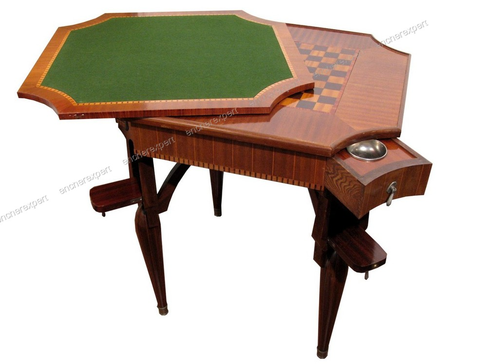 table a jeux marqueterie echiquier epoque art deco. Black Bedroom Furniture Sets. Home Design Ideas