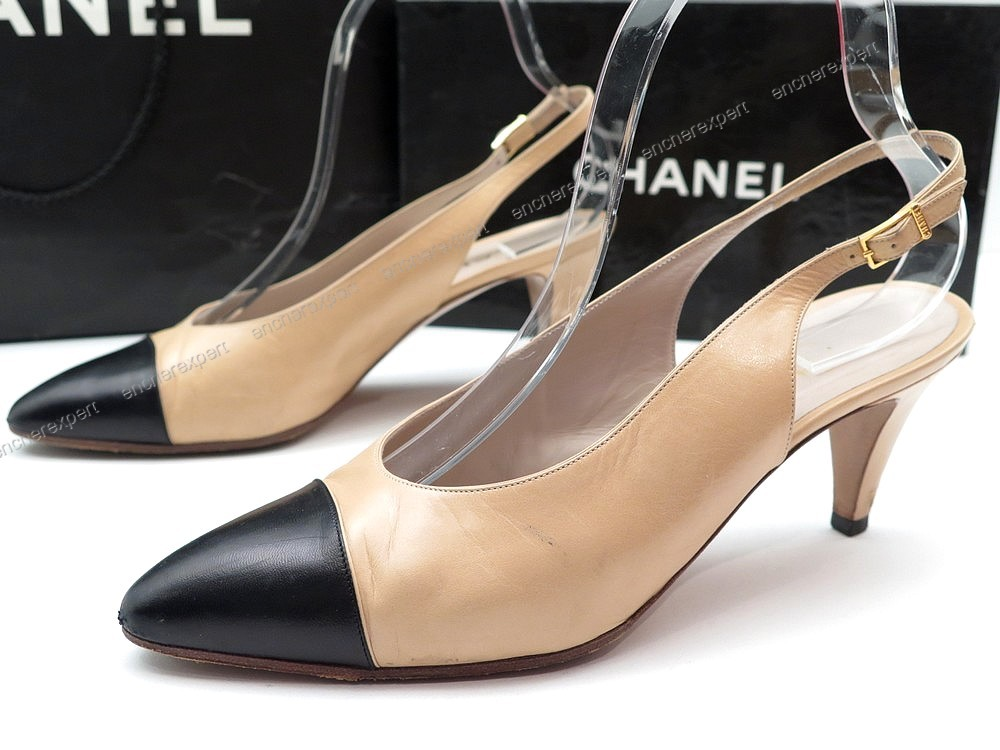 Chaussures Chanel Escarpins A Brides 38 5 Cuir Authenticite