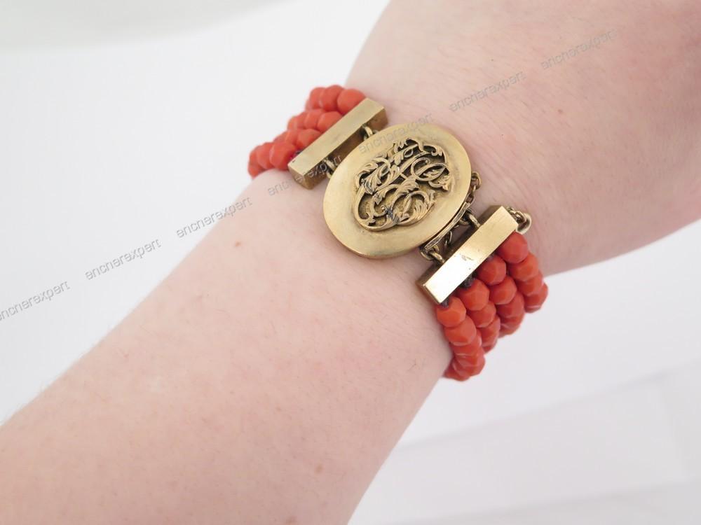 Ancien Bracelet 4 Rangs En Corail Vermeil Argent