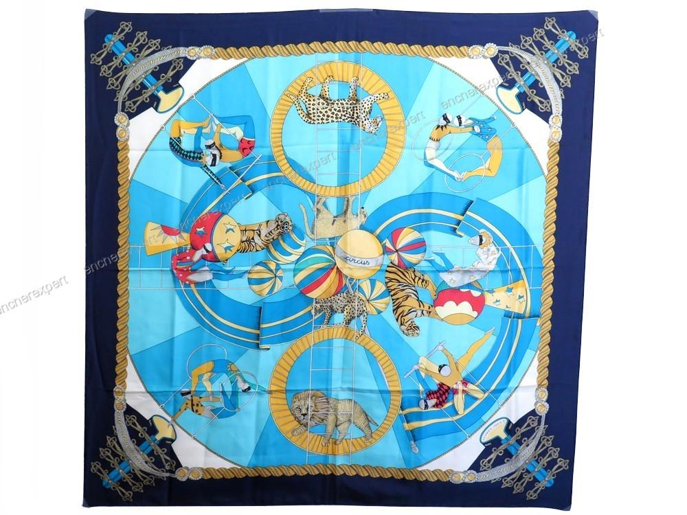 Foulard HERMES circus carre 100 soie bleu leopard - Authenticité ... cd8f5de0ae1