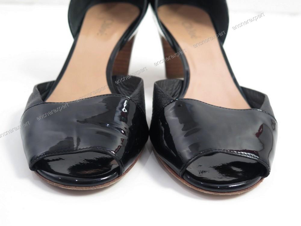 chaussures chloe escarpins 37 cuir verni noir authenticit garantie visible en boutique. Black Bedroom Furniture Sets. Home Design Ideas