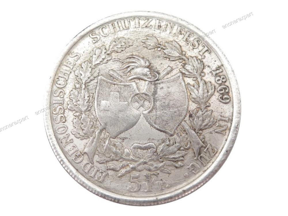 piece de 5 francs suisse zug 1869 en argent 17 1 authenticit garantie visible en boutique. Black Bedroom Furniture Sets. Home Design Ideas