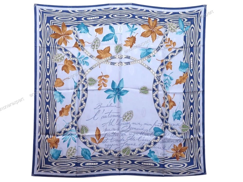 Neuf foulard cartier carre baudelaire automne soie - Authenticité garantie  - Visible en boutique b7eeec2fb53