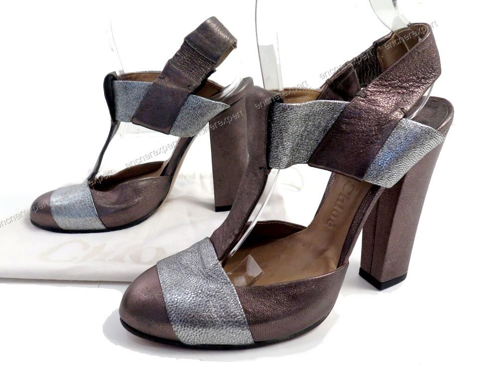 neuf chaussures chloe escarpins 37 en cuir argente authenticit garantie visible en boutique. Black Bedroom Furniture Sets. Home Design Ideas