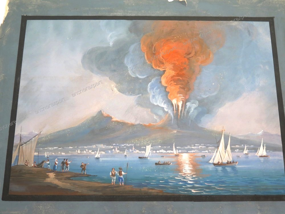 Peinture Gouache Dessin Napolitaine Volcan Vesuve Authenticite Garantie Visible En Boutique