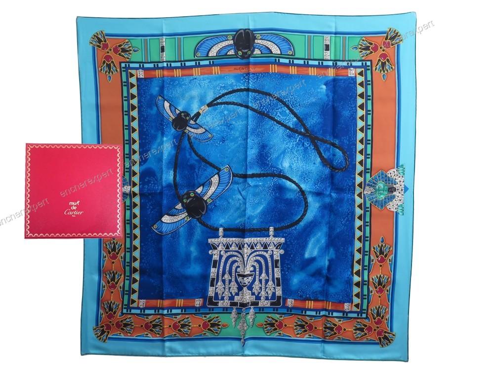 Neuf foulard cartier carre le scarabee 100 soie - Authenticité garantie -  Visible en boutique 1456e7e2379