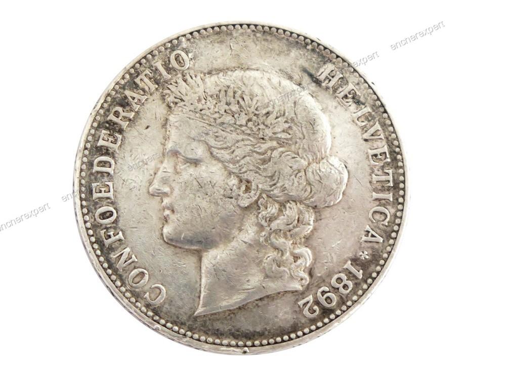 piece de 5 francs suisse 1892 b en argent authenticit garantie visible en boutique. Black Bedroom Furniture Sets. Home Design Ideas