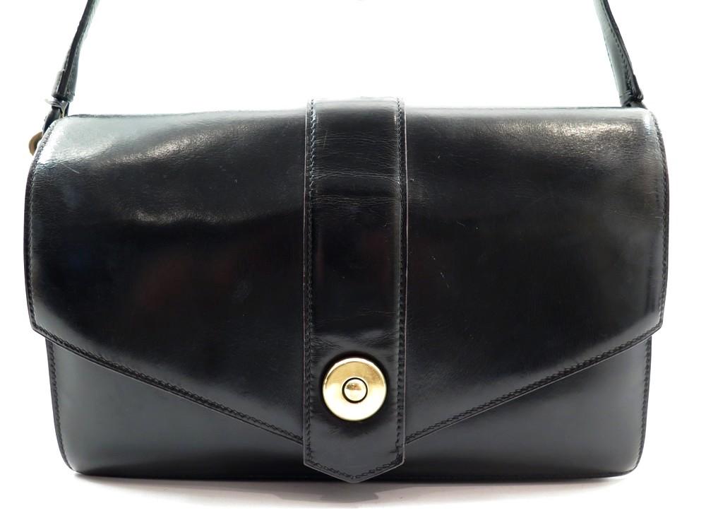 Hermes pochette Jige en cuir box noir