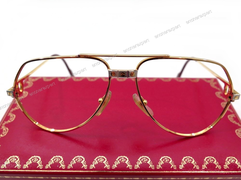 Monture lunettes must de cartier santos plaque or - Authenticité garantie -  Visible en boutique f61119a6bb6f