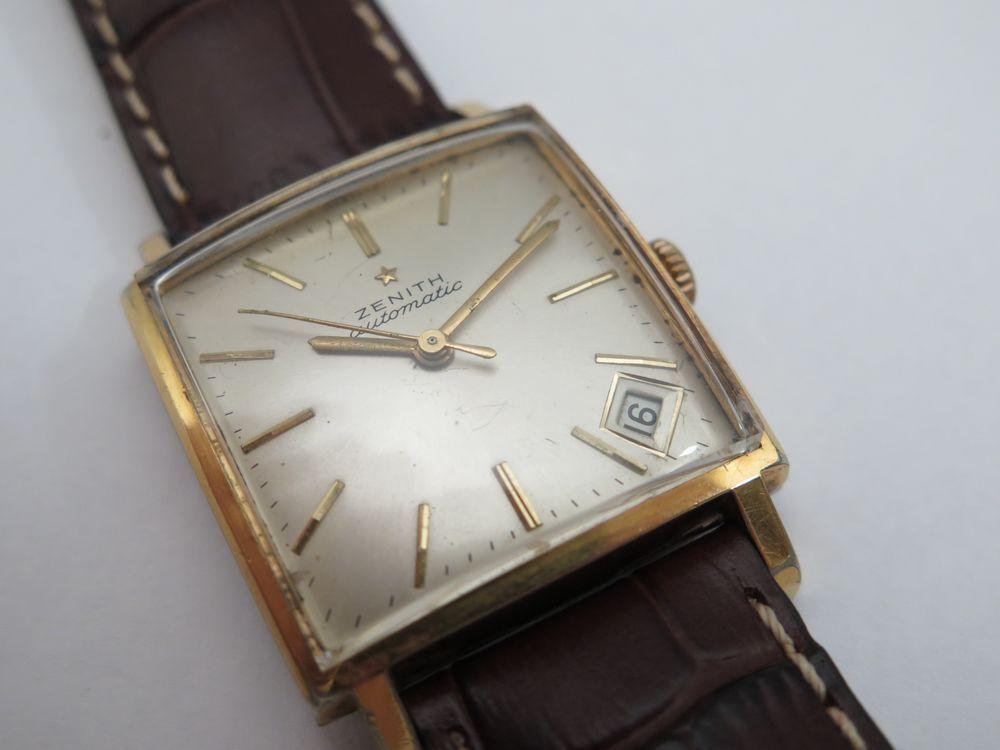 vintage montre zenith classic automatique carre 29 mm bracelet cuir neuf watch ebay. Black Bedroom Furniture Sets. Home Design Ideas