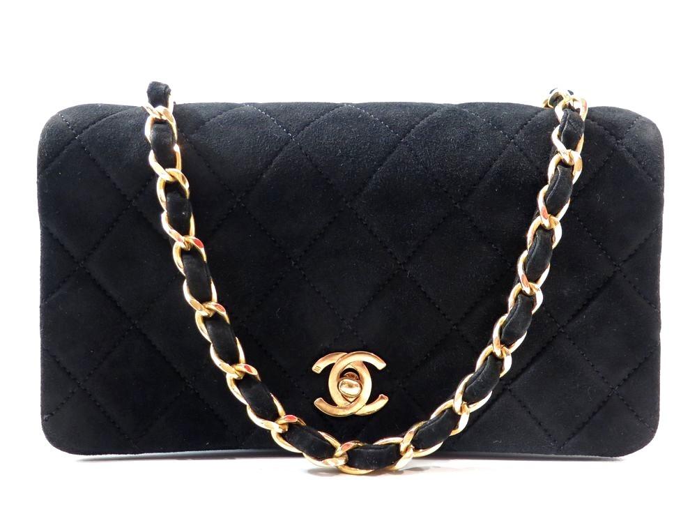d30c93c2679 Vintage sac a main CHANEL mini timeless 19 cm daim - Authenticité garantie  - Visible en boutique