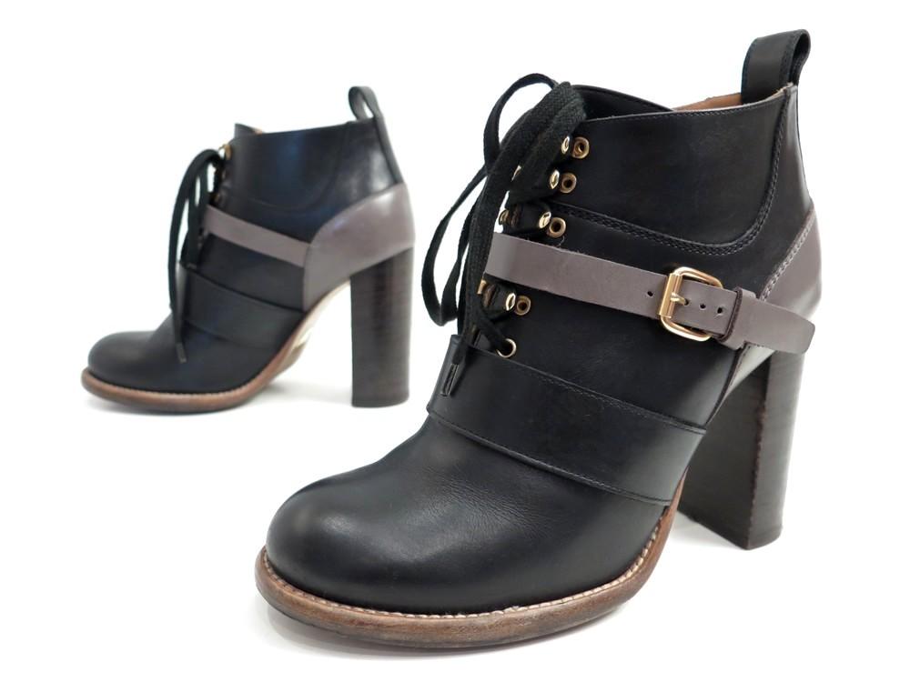 chaussures chloe bottines 38 en cuir noir gris authenticit garantie visible en boutique. Black Bedroom Furniture Sets. Home Design Ideas