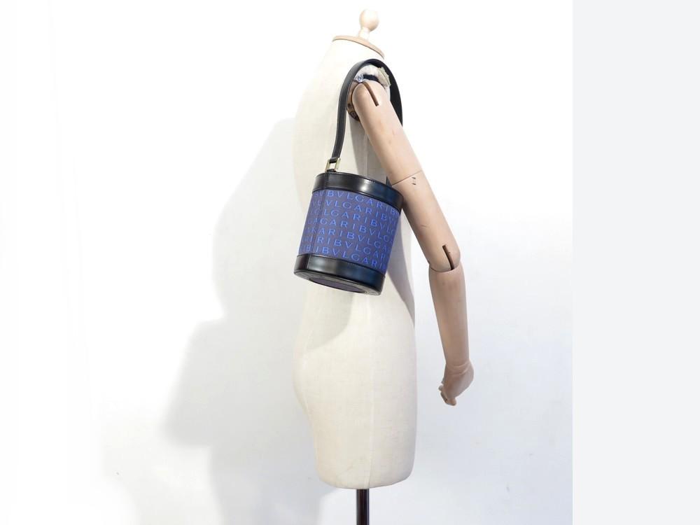 Neuf sac a main bulgari seau en toile et cuir bleu