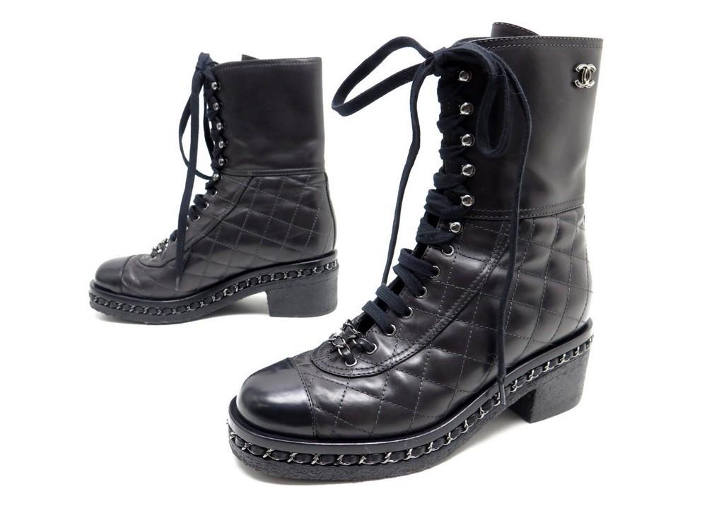 Neuf chaussures CHANEL bottines rangers matelasse - Authenticité garantie -  Visible en boutique c14ae4f8fec