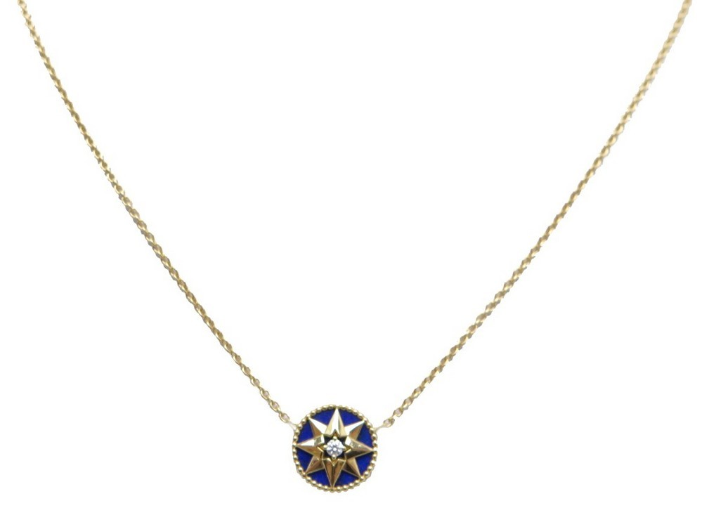 Neuf Collier Dior Rose Des Vents Diamant Lapis