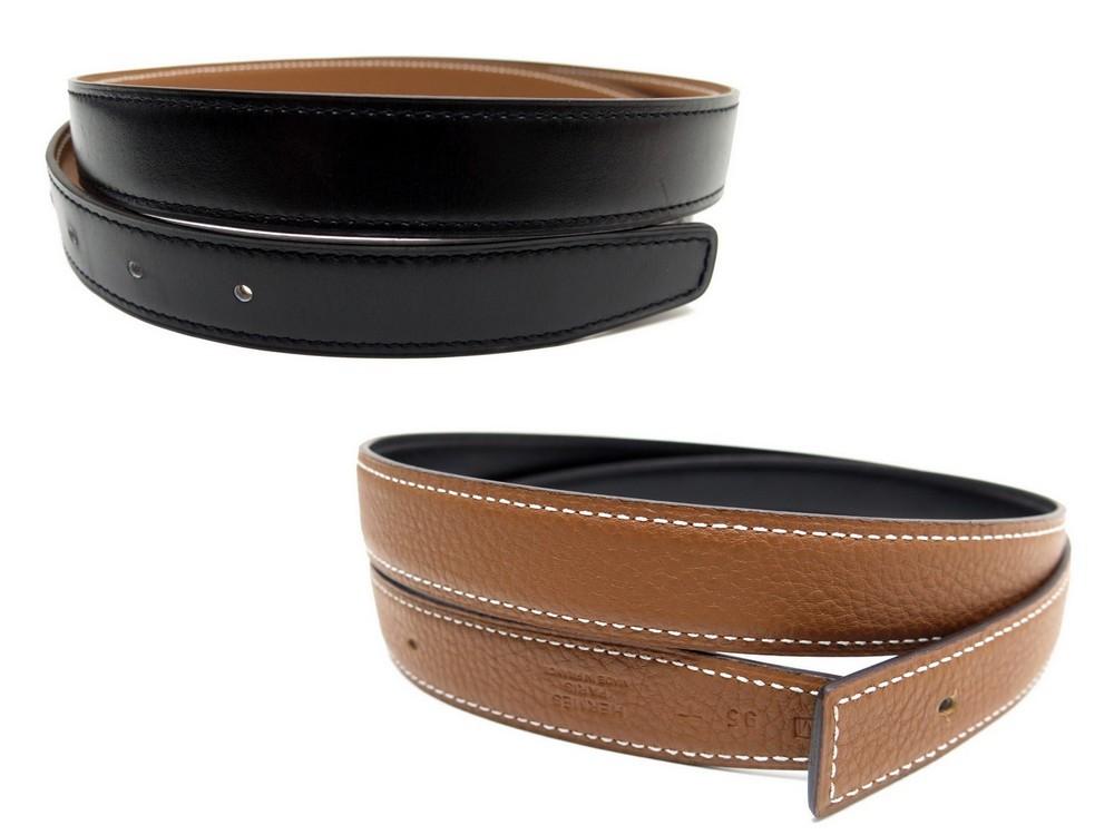 1f65a8aba18 Neuf lien de ceinture HERMES 95 cuir noir epsom - Authenticité garantie -  Visible en boutique