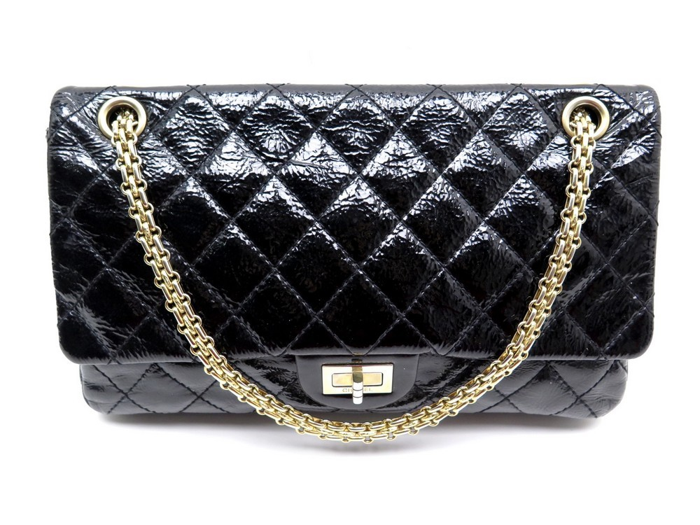 Sac a main CHANEL grand sac 2.55 cuir verni noir - Authenticité garantie -  Visible en boutique c7281b0c890
