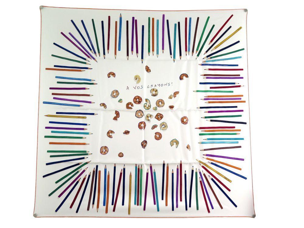 Neuf rare foulard HERMES a vos crayons carre en - Authenticité garantie -  Visible en boutique 1ae91f950e6