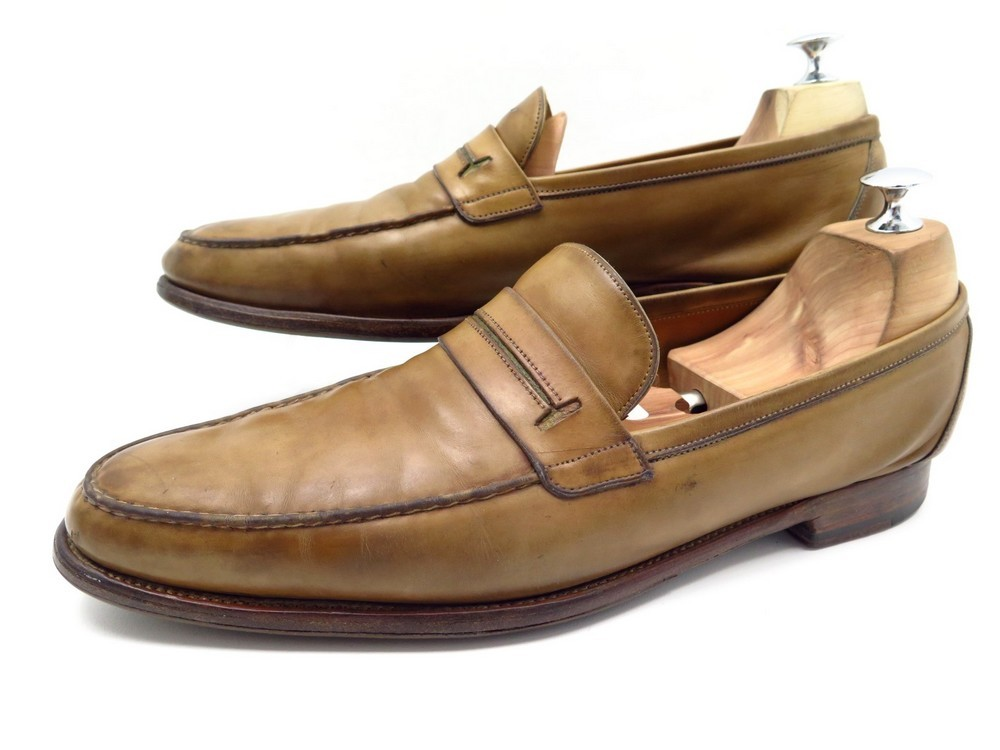 428eea41f60 CHAUSSURES HERMES KEITH ANTIQUE 44 MOCASSINS CUIR.