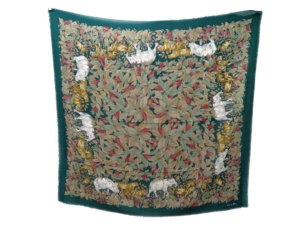 8f95c30a4c6e Chale christian DIOR foulard en laine soie vert - Authenticité garantie -  Visible en boutique