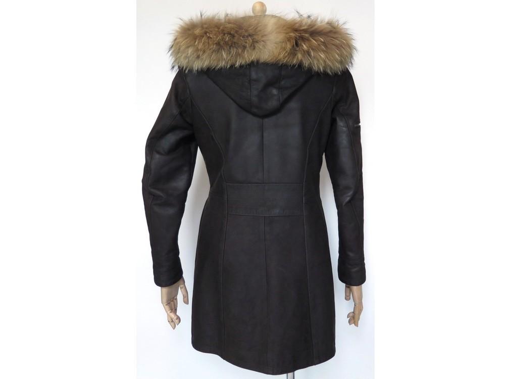 Détails Sur M Marron Cuir Coat Avec 1400€ 38 Fourrure Manteau 40 Capuche Long Forestland VGUMzqSp